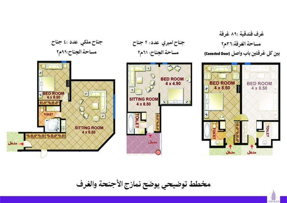 مخطط الأجنحة والغرف